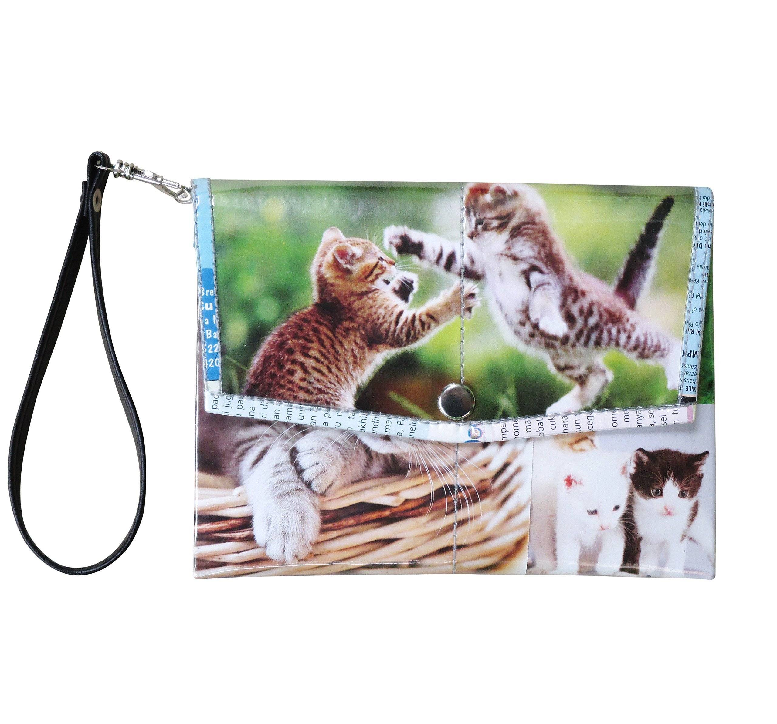 Small snap wristlet for cat lovers - FREE SHIPPING - upcycled eco friendly vegan recycled reclaimed salvaged handmade unique purse gift purse wallet kitten print kittens printing cats lover meow by Upcycling by Milo