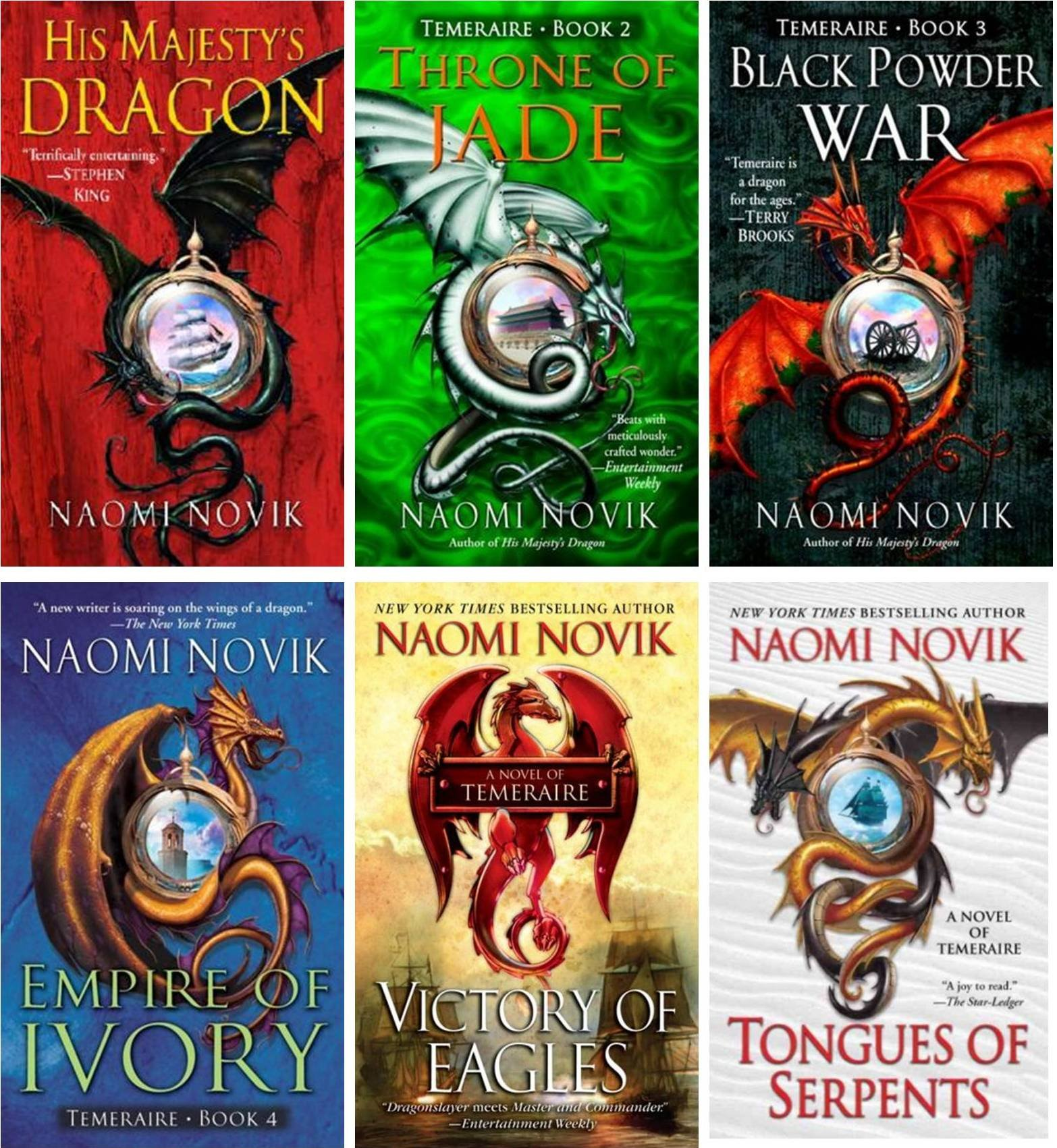 The Temeraire Series Collection Set (his Majesty's Dragon, Throne Of Jade,  Black Powder War, Empire Of Ivory, Victory Of Eagles, Tongues Of Serpents,
