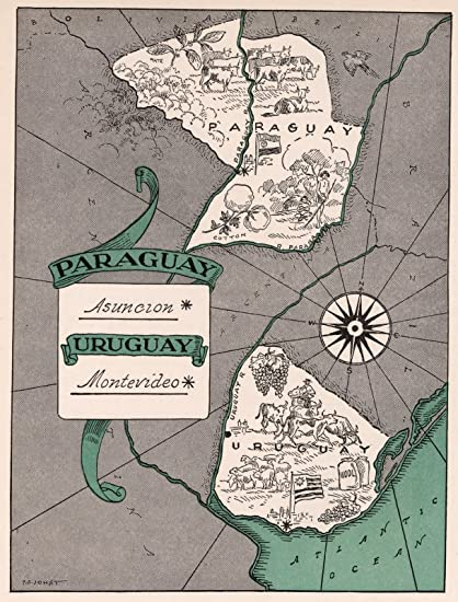 School Atlas Map, Paraguay. Uruguay. 1941 | Historic Antique Vintage Map Reprint
