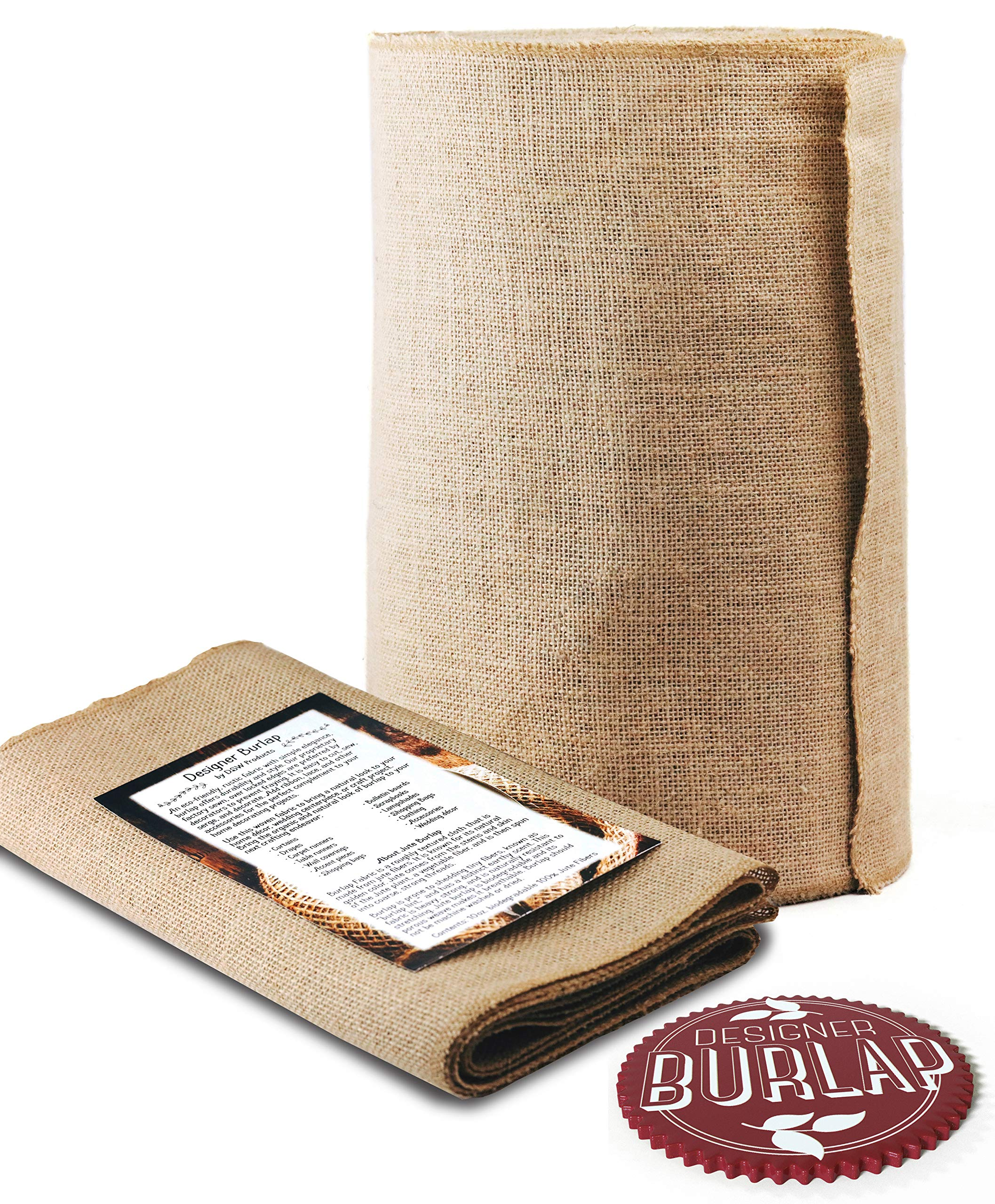 Burlap Table Runner Roll - 14'' Wide x 50 Yards Long. NO-FRAY with FINISHED Edges. Burlap Fabric Roll Perfect for Weddings, Table-Runners, Decorations & Crafts. Decorate Without Mess.