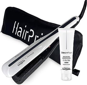 LOréal Professionnel Steampod 3.0 - Plancha alisadora + crema para cabello grueso 150 ml + estuche de almacenamiento plano negro Hairprice: Amazon.es: Salud y cuidado personal