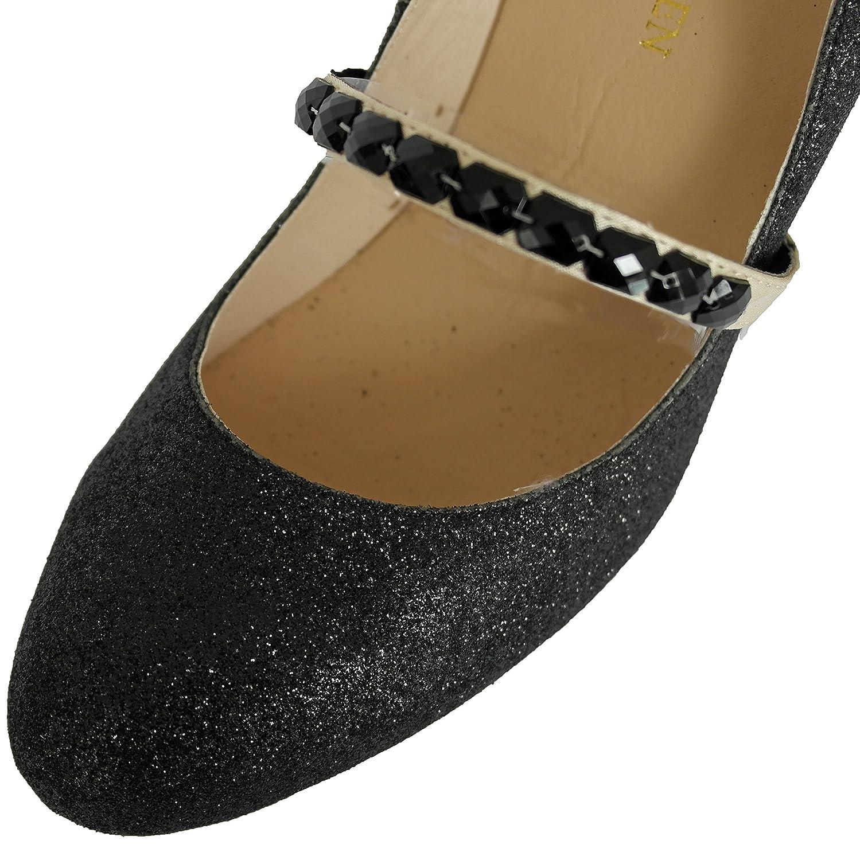 Tirantes prácticos, reutilizables y elásticos para zapatos, correas de zapatos, decoración de zapatos, accesorios de novia o de baile (Negro y Dorado)
