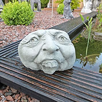Charmant Stone Face Garden Ornament Pond Ugly Cast Stone Stone Head Stone Statue  Frost Free