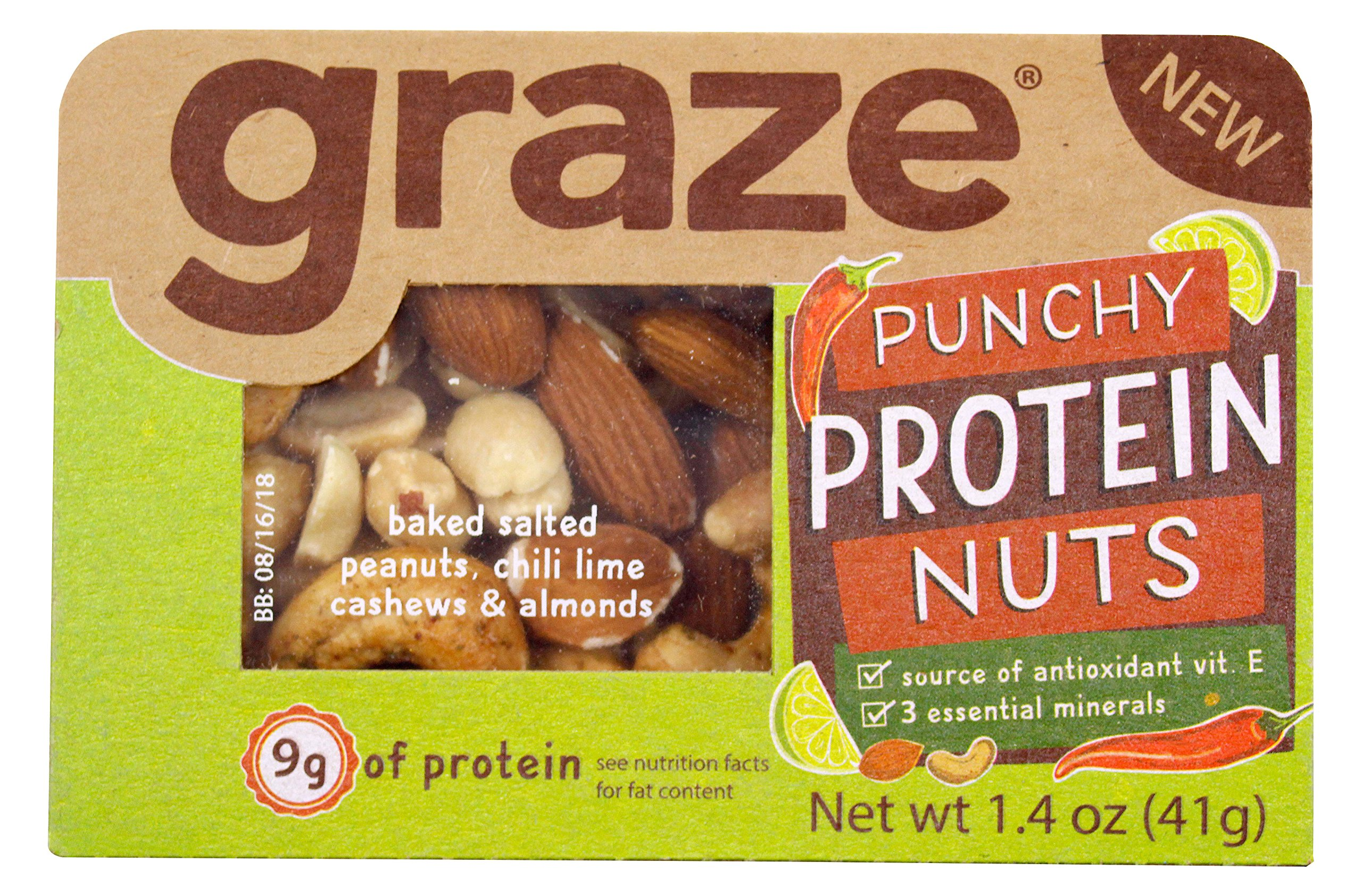 Graze Natural Punchy Protein Nuts Snack Mix with Roasted Chili Lime Cashews, Blanched Peanuts and Raw Almonds, Healthy, Natural Nut Trail Mix, 1.4 Ounce Box, 9 Pack