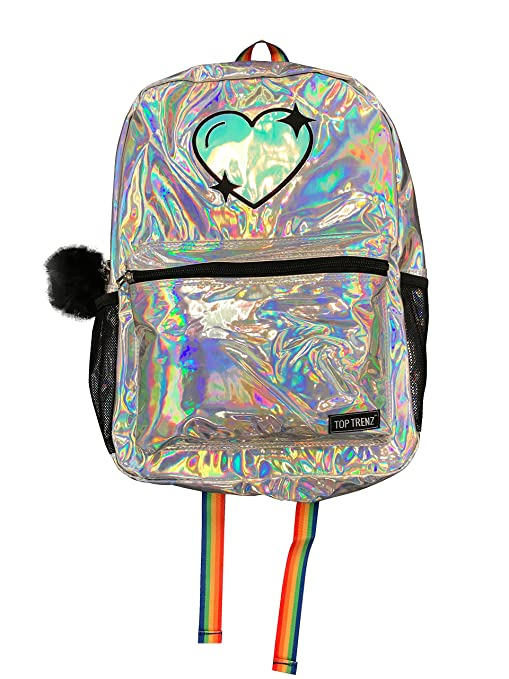 Blue Top Trenz Metallic Backpack for School Travel or Work Pink or Silver