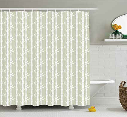 Ambesonne Tropical Shower Curtain Rainforest Tree Bamboo Branches Leaves Silhouettes Texture Summer Illustration Fabric