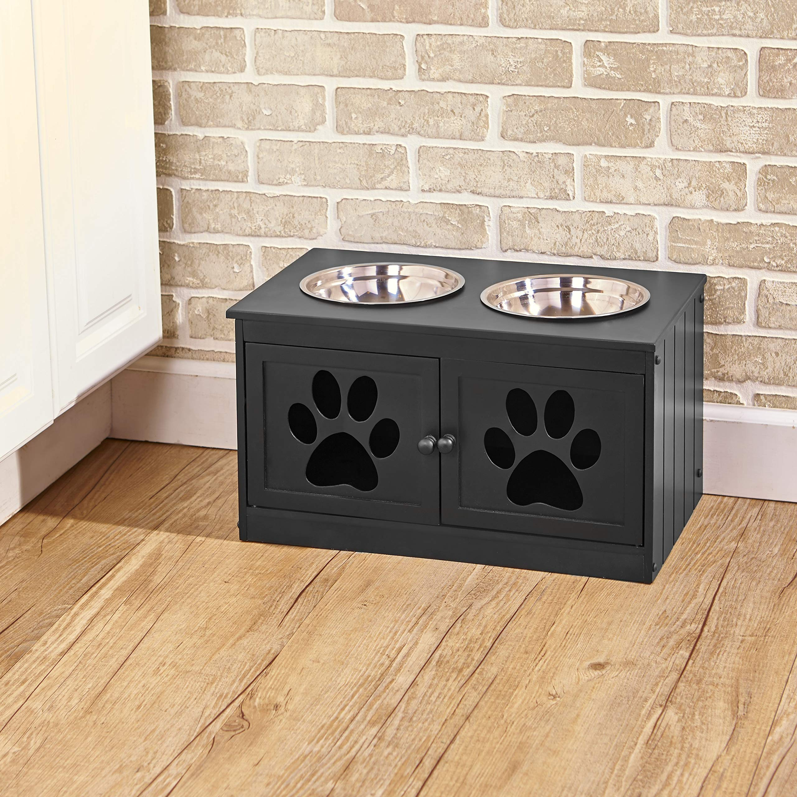 Ltd Commodities LLC Pet Feeding Cabinet with 2 Elevated Bowls and Storage Beneath - Black by Ltd Commodities LLC
