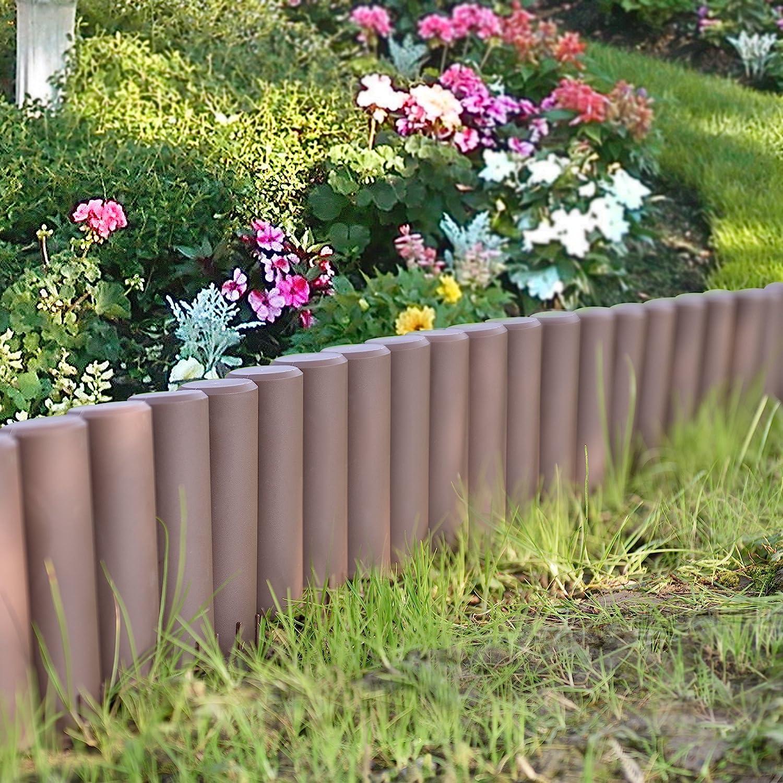 casa.pro] Empalizada para jardín Set de 10 Unidades Separadores para césped Marrón Longitud 270cm: Amazon.es: Hogar
