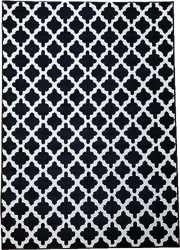 Gloria Star Collection Contemporary 100 Polypropylene Area Rug 5 x 7 , 2332 Black