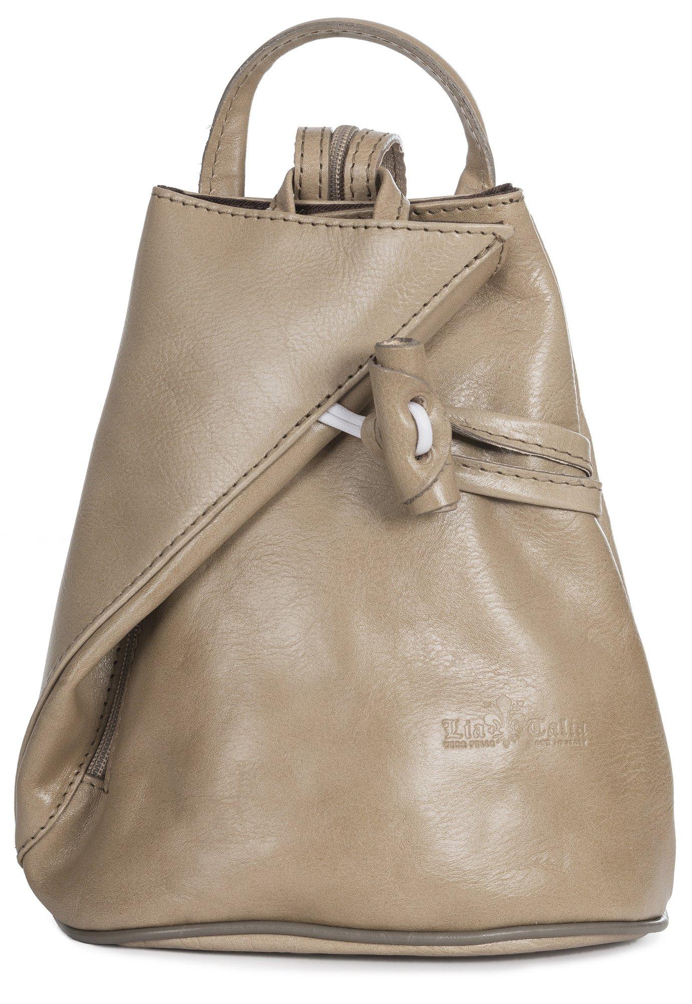 LiaTalia Vera Pelle Made In Italy Brady byLiaTalia Womens Mens Adult Convertible Strap Italian Leather Backpack Rucksack Duffle Shoulder Bag Handbag (Large/Medium - Beige Plain)