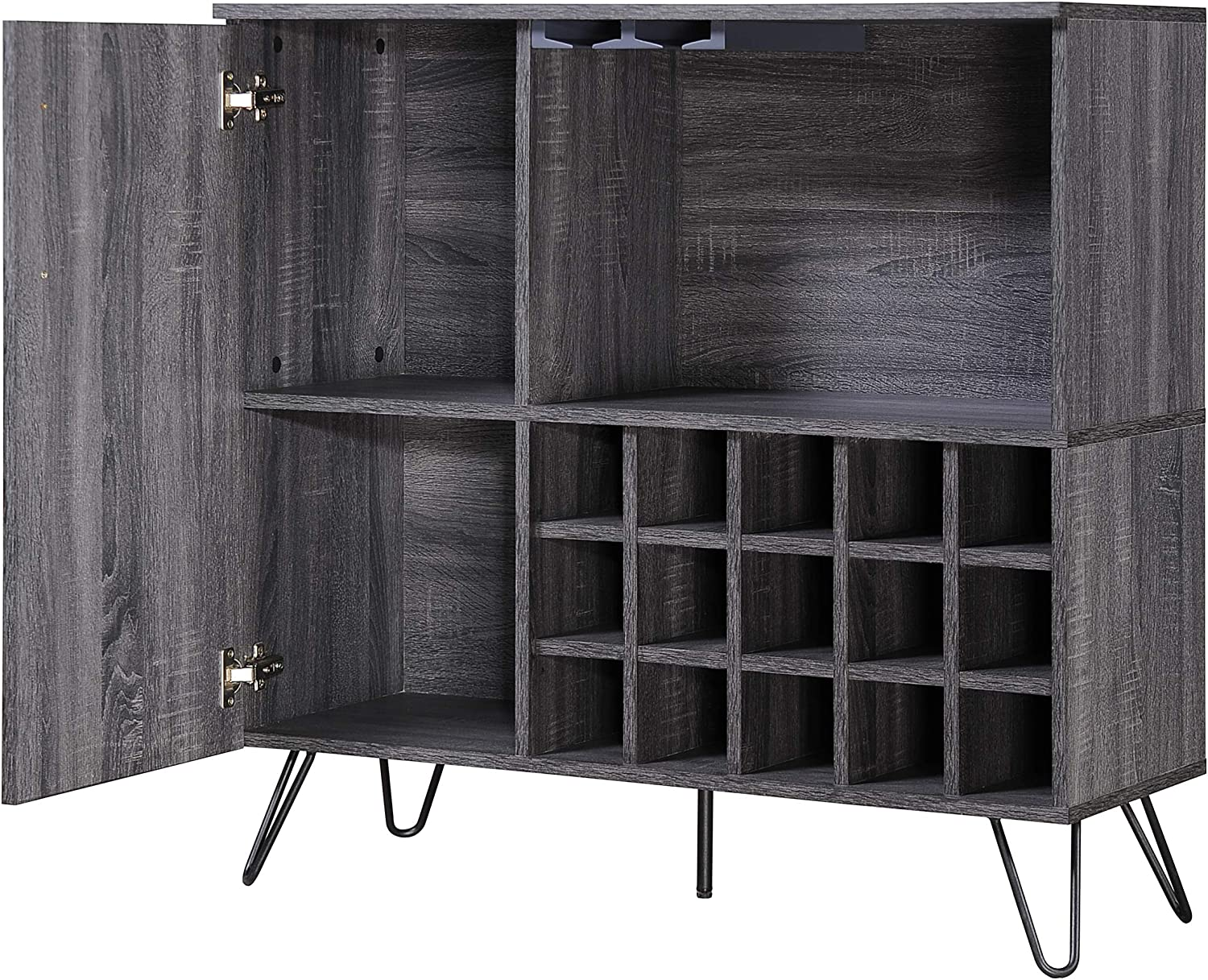 Christopher Knight Home Lochner Mid-Century Faux Wood Wine and Bar Cabinet, Black / Sonoma Grey Oak Finish