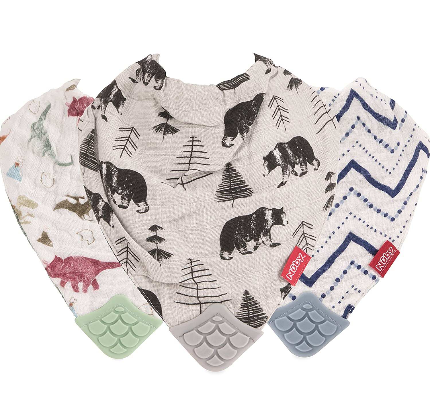 Nuby Reversible 100% Natural Cotton Muslin 3 Piece Teething Bib, Green/Grey/Blue, Dinosaur/Bear/Stripes Unique Look Inc. 93019