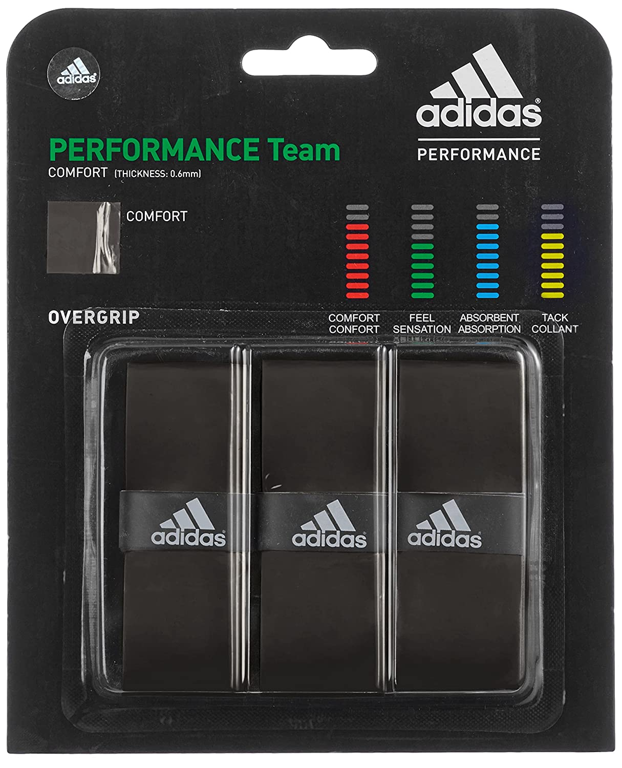 adidas Badmintongrip Performance Team - Raqueta de bádminton, color negro, talla Talla única GR210301