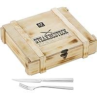 ZWILLING Steak Besteck Set, 12-teilig inBesteck-Holz-Box, 6 Steakmesser - 6 Steakgabeln, spülmaschinengeeignet, Poliert 18/10 rostfreierEdelstahl