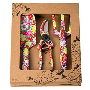 FLORA GUARD 3 Piece Aluminum Garden Tool Set with Purple Print - Trowel, Cultivator, Pruning Shear, Gift Set for Gardening Needs (red)