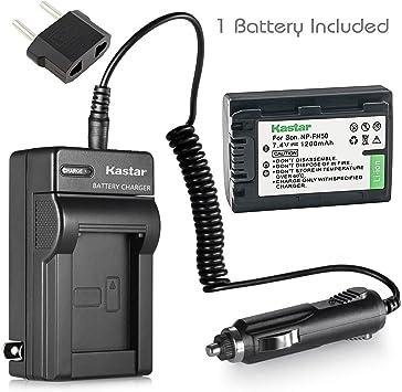 Kastar Batería Cargador LCD para Sony NP-FH50 /& Sony DCR-SR47 DCR-SR48 DCR-SR50
