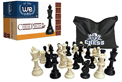 Best Value Staunton Tournament Chess Pieces   Black And Cream Plastic  Chessmen With 3.75 Inch King