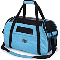 Kaka mall Pet Carrier Waterproof Fabric Padded Soft Sided Airline Approved Portable Collapsible Mesh Breathable for Small Puppy Dogs Cats Travel Bag Can be Connected with Car Seat Belts (Blue, Small)