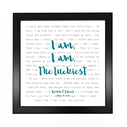 Amazon ben folds the luckiest typography song lyrics print ben folds the luckiest typography song lyrics print framed personalised anniversary valentines stopboris Images
