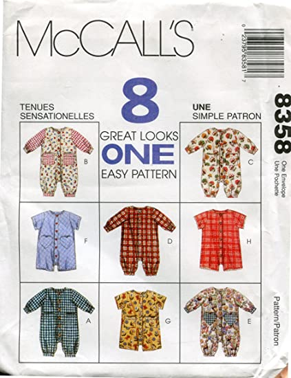 47b7acb50ef Image Unavailable. Image not available for. Color  McCall s Pattern 8358 ~ Infant s  Romper ...