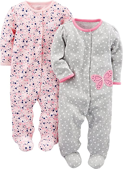 Amazon.com  Simple Joys by Carter s Baby Girls  2-Pack Cotton Footed ... b7163c2bd
