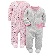 Simple Joys by Carter's Baby Girls' 2-Pack Cotton Footed Sleep and Play, Gray Butterfly/Pink Floral, Newborn