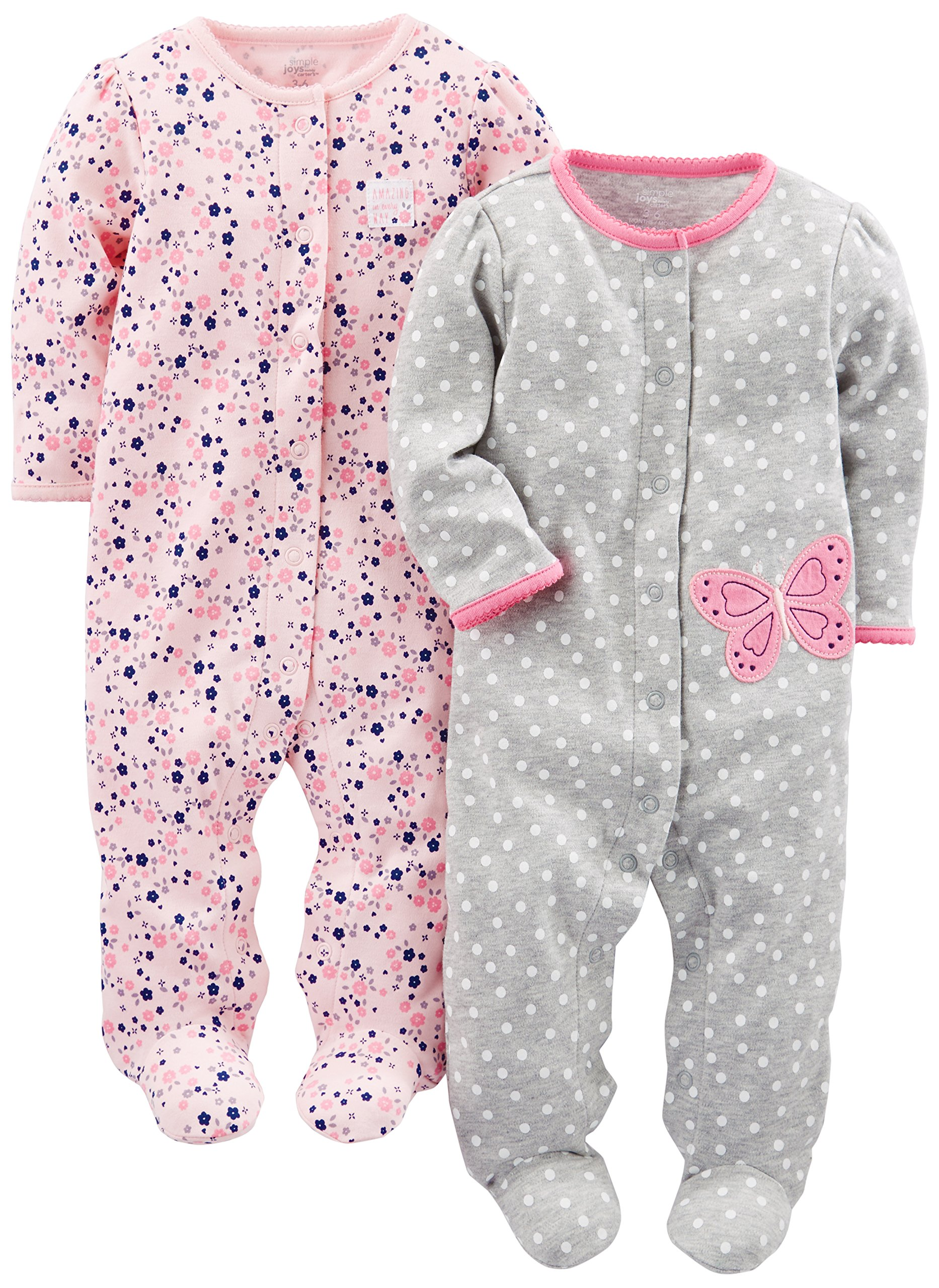 863119cc96 Simple Joys by Carter s Baby Girls  2-Pack Cotton Footed Sleep and Play  product