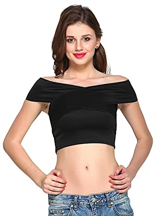 8e6ac433a18cad VeniVidiVici Black Bandage Bardot Crop Top: Amazon.in: Clothing ...