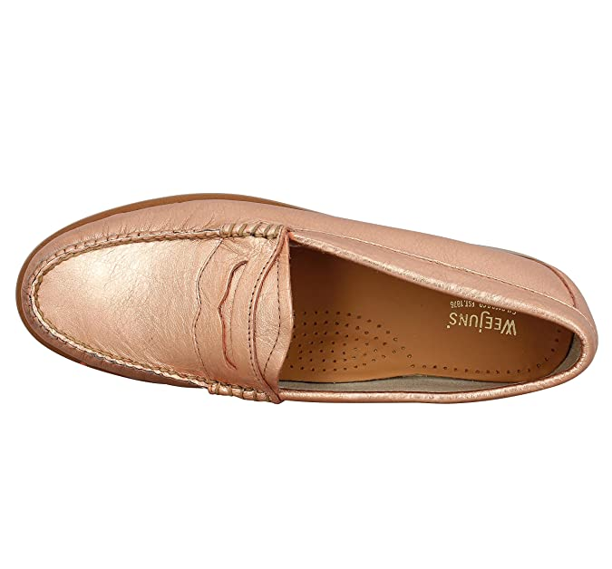 Weejuns Women's Penny Metal Rose Gold Textured Leather: Amazon.co.uk: Shoes  & Bags