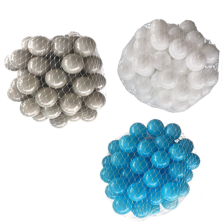 150 Bälle für Bällebad gemischt mix mit türkis, weiß und grau mybällebad