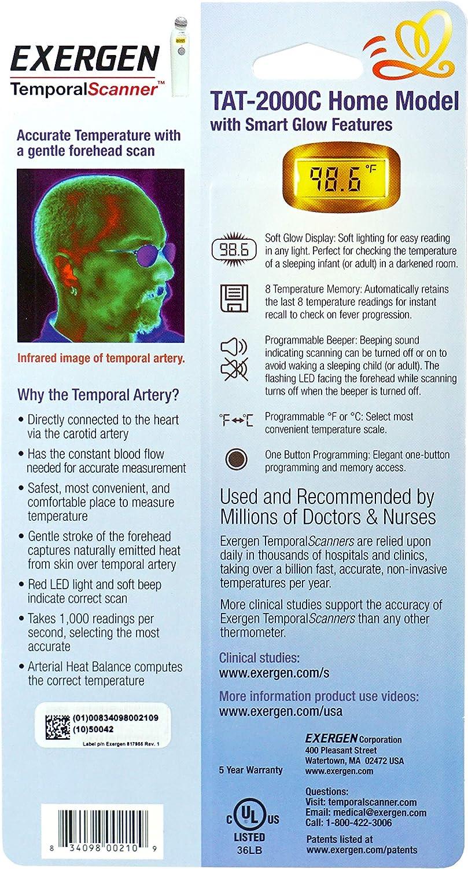 Exergen Digital artère temporale Thermomètre avec ION Argent Antimicrobial Head
