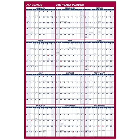 2019 Wall Calendar Amazon.: AT A GLANCE 2019 Erasable Wall Calendar, 48