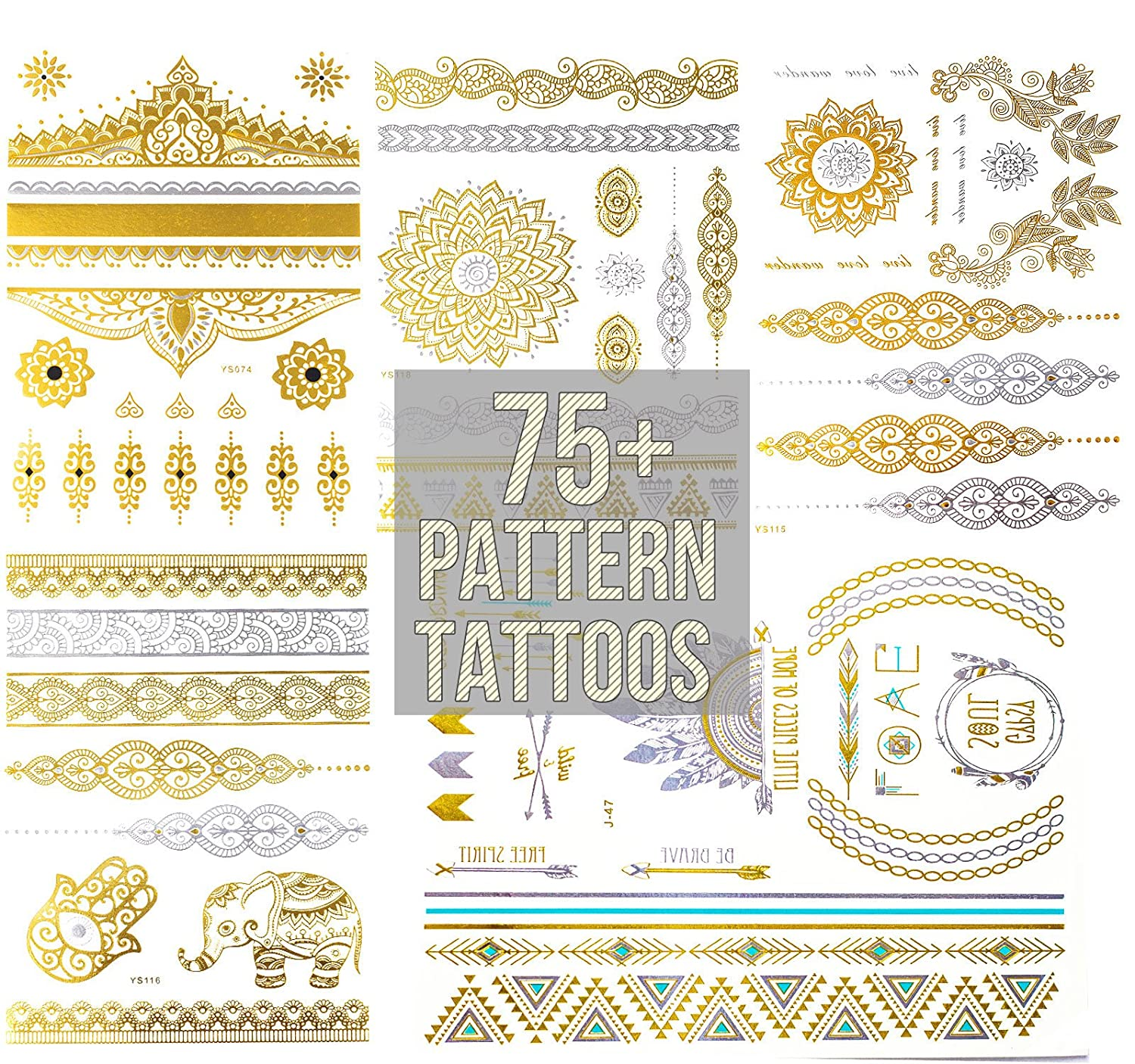 75+ patterns tattoos in gold, silver blue and a splash of black color