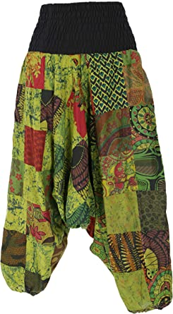 Guru-Shop Aladinhose Patchwork Pluderhose, Hippie Hose, señora, azul, algodón, Size:40, Pluderhosen & Aladinhosen alternativa ropa verde lima 42: Amazon.es: Ropa y accesorios