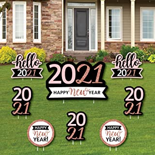 product image for Big Dot of Happiness Rose Gold Happy New Year - Yard Sign and Outdoor Lawn Decorations - 2021 New Year's Eve Party Yard Signs - Set of 8