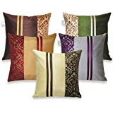 ZIKRAK EXIM Polyester Multi Stripy Small Cushion Cover 12x12-inches/30x30cm(Multicolour)- Set of 5