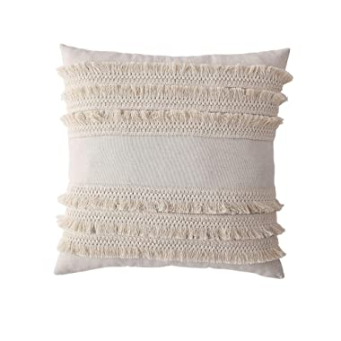 Morgan Home Decorative Fringe Throw Pillow Cushions Cover for Sofa Couch or Bed - 18 x 18 inches, 1 PC