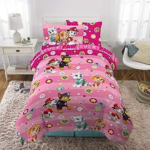 Franco Kids Bedding Super Soft Comforter and Sheet Set with Bonus Sham, 5 Piece Twin Size, Paw Patrol Pink