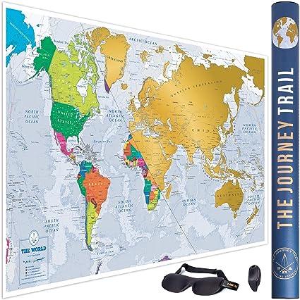 Mapa mundi para rascar más grande (84x57cm) y con más destinos - Póster de papel de gran