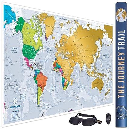 Mapa mundi para rascar más grande (84x57cm) y con más destinos - Póster de papel de gran calidad, más grueso y capa de protección - Incluye antifaz ...
