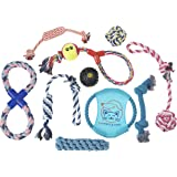 Dog Toy Rope Play Set: 10 Pet & Puppy Chew Toys for Teething Aggressive Chewers - Safe & Soft Gift Bundle Pack - Assortment of Washable Cotton Tug Chews with Tennis Ball & Braided Frisbee