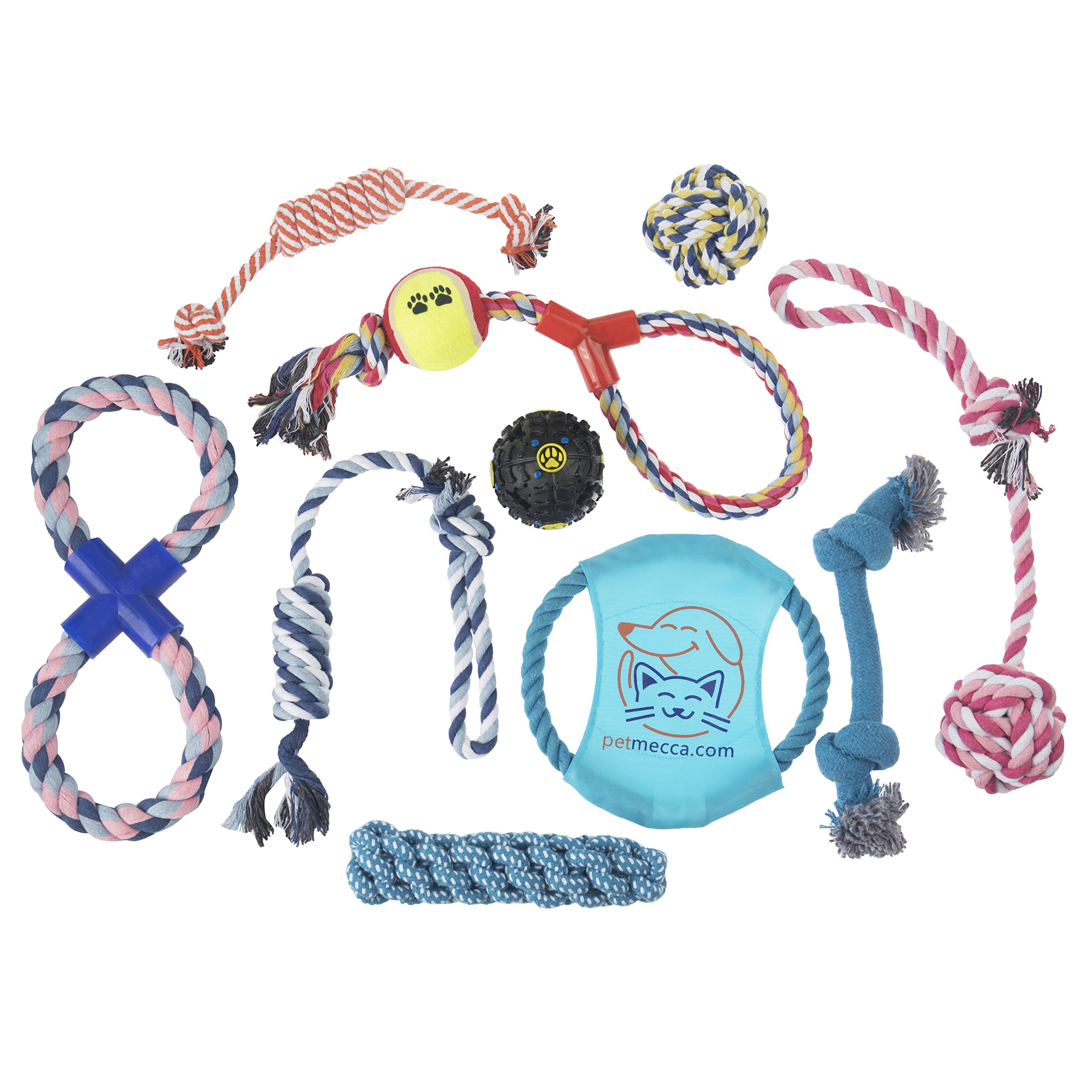 Dog Chew Toys For Small and Large Dogs - Includes Tough, Durable Rope and Ball for Aggressive Chewers and Puppy Teething - Includes Assortment of 10 Toys to Prevent Boredom.