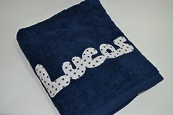 Toalla personalizada con nombre 100% algodón (Azul marino): Amazon.es: Hogar