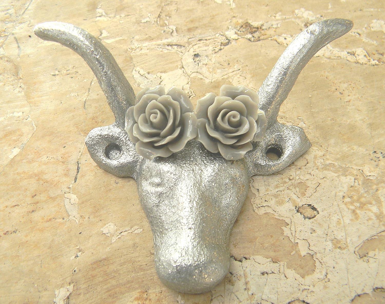 Amazon.com: Cast Iron Silver Wall Hanger, Cow Animal Hook, Rustic ...