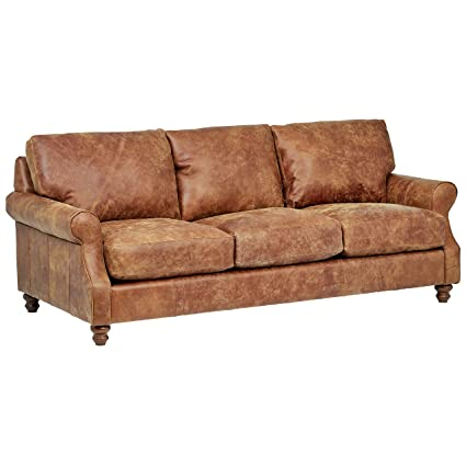 Enjoyable Stone Beam Charles Classic Oversized Leather Sectional Sofa Couch 92W Saddle Brown Caraccident5 Cool Chair Designs And Ideas Caraccident5Info