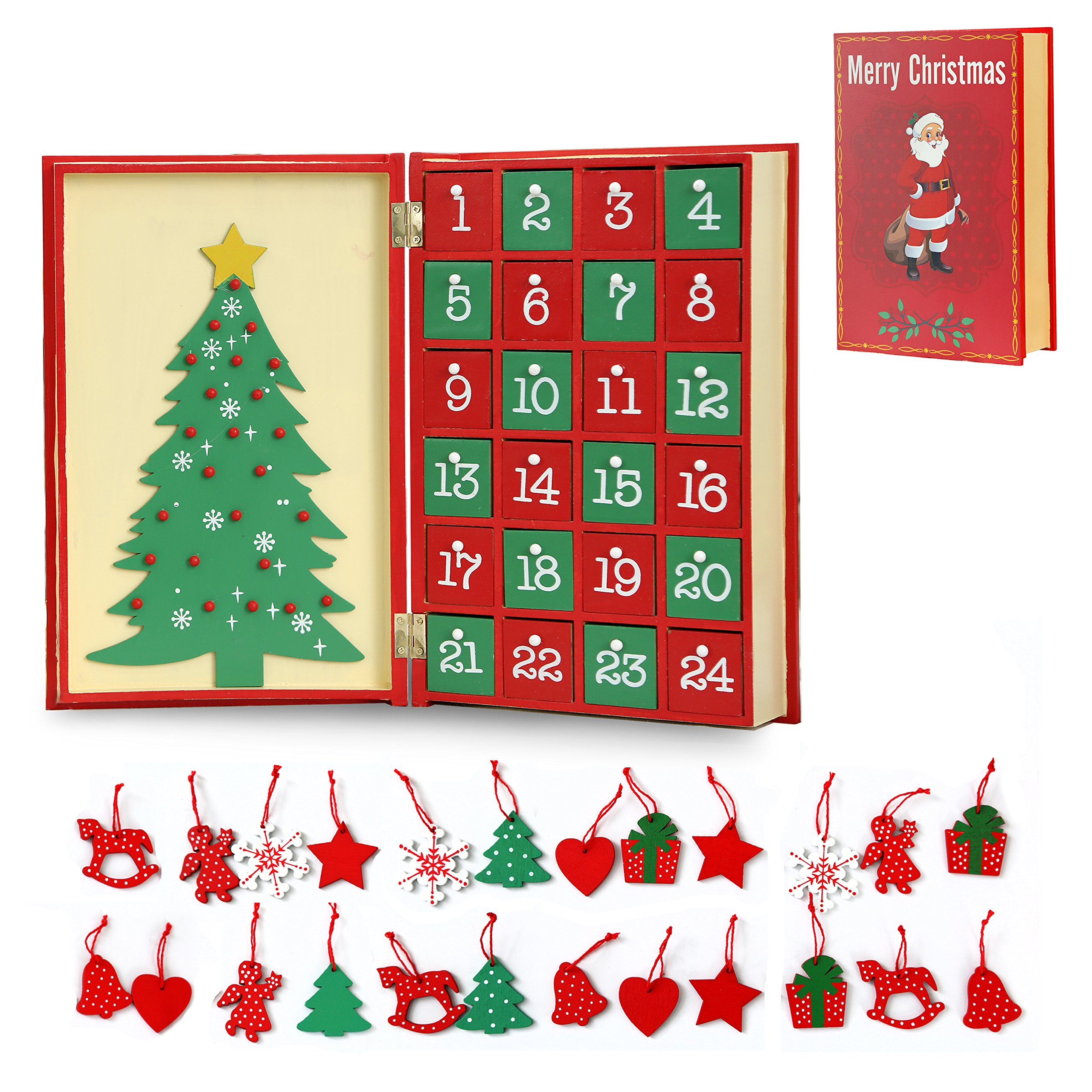 Christmas Wooden Santa Claus Advent Calendar Book with 24 Hanging Ornaments to Decorate Tree on the Second Page