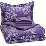 AmazonBasics 5-Piece Bed-In-A-Bag - Twin/Twin Extra Long, Purple Floral