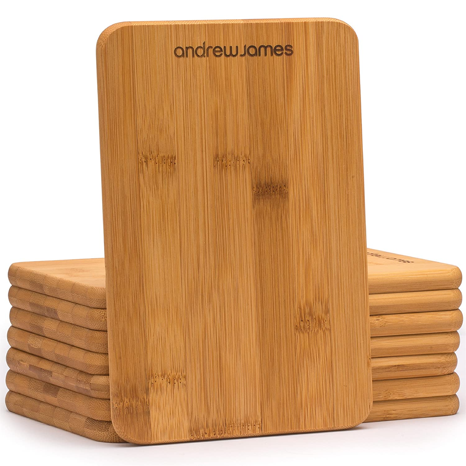 Andrew James Chopping Boards | Set of 8 Bamboo Small Wooden Serving & Cutting Boards | 22 x 15 x 11cm | Ideal for Use with Raclettes & Teppanyaki Grills | 100% Natural Wood