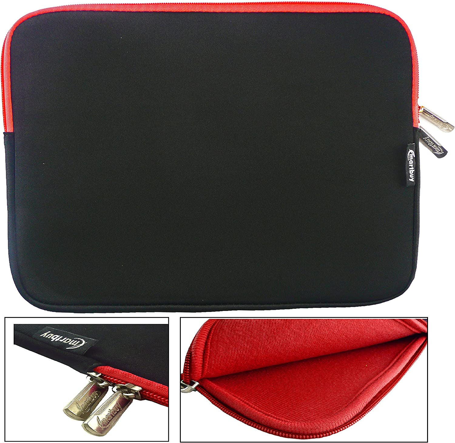 Emartbuy/® Black 11.6-12.5 Inch Tablet Chromebook Laptop Red Water Resistant Neoprene Soft Zip Case Cover Sleeve With Red Interior /& Zip Suitable for Lenovo ThinkPad Helix 11.6 Inch Convertible Laptop