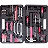 CARTMAN 148-Piece Tool Set - General Household Hand Tool Kit with Plastic Toolbox Storage Case, Pink